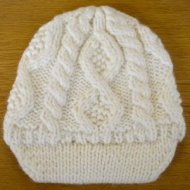 SL090 Ex UK Chainstore Cable Knit Hat - Cream x12