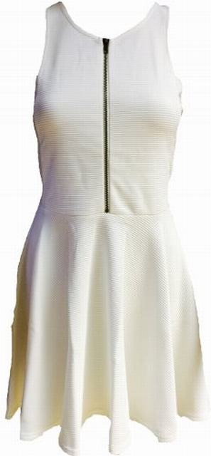 SL132 Ex UK Chainstore Front Zip Skater Dress - White x4