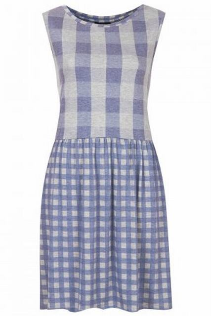 SL142 Ex UK Chainstore Gingham Jersey Smock Dress x12