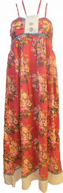 SL152 Ex UK Chainstore Floral Button Detail Dress - Red x12