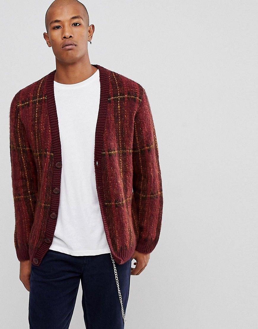 SM075 Ex Chainstore Burgundy Check Fluffy Cardigan x11
