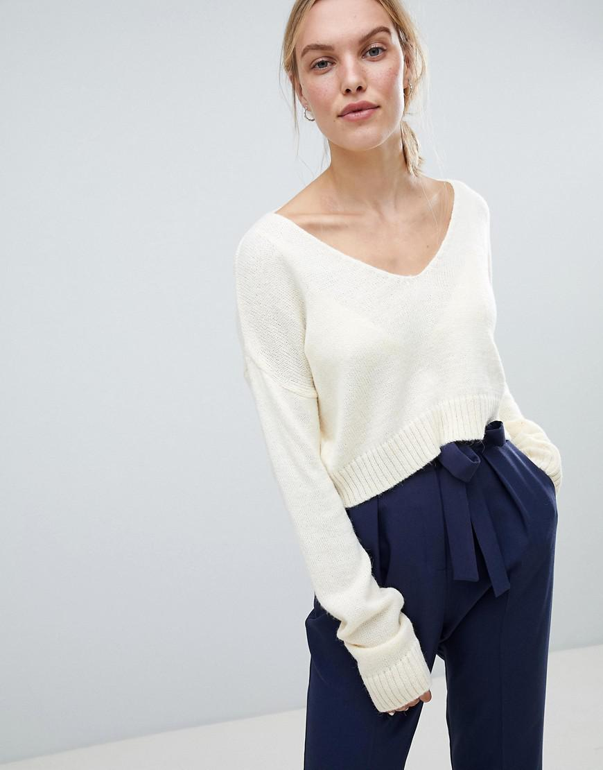 SL1376 Ex Chainstore Cream Fluffy Yarn Oversize Crop Jumper x18