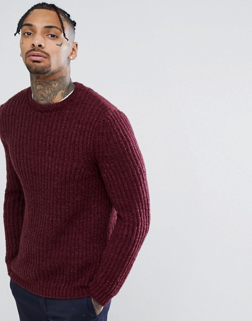 SM074 Ex Chainstore Fluffy Fisherman Rib Jumper Burgundy x9