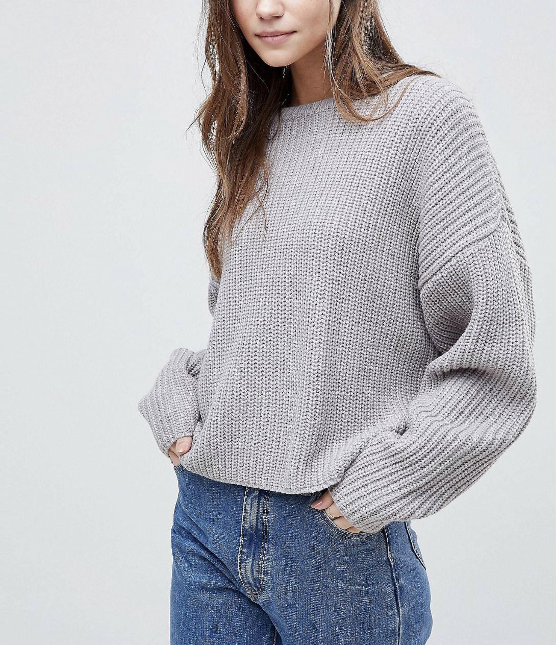 SL1359 Ex Chainstore Grey Marl Chunky Oversized Crop Jumper x18