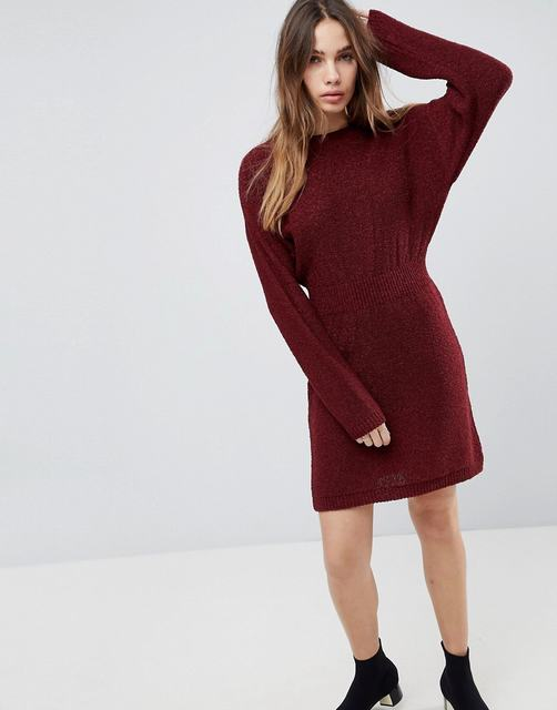 SL1312 Ex Chainstore Knitted Dress In Batwing - Berry x10