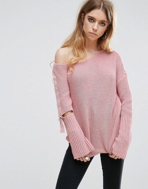 SL1339 Ex Chainstore Blush Off Shoulder D-Ring Chunky Jumper x9