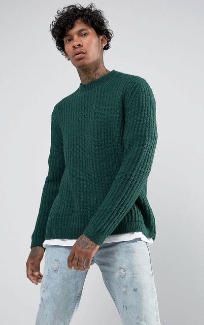 SM041 Ex Chainstore Green Chunky Stitch Relaxed Fit Jumper x12