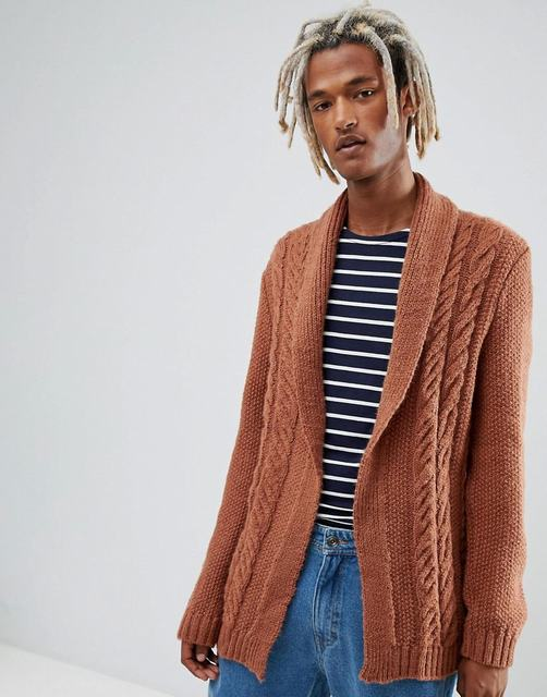 SM071 Ex Chainstore Asos Fluffy Knit Cardigan In Tan x14
