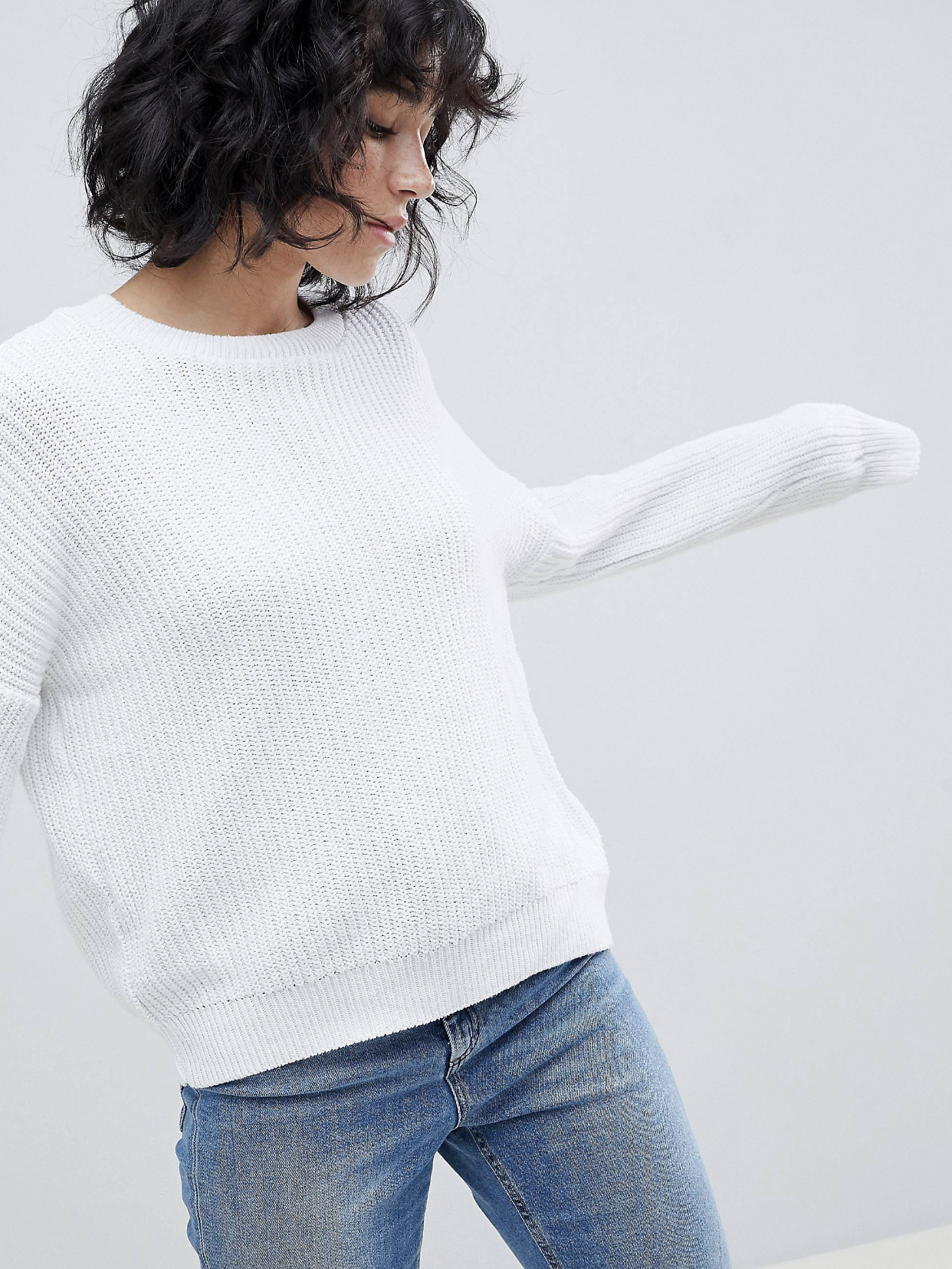 SL1531 Ex Chainstore White Chunky Oversized Crop Jumper x15