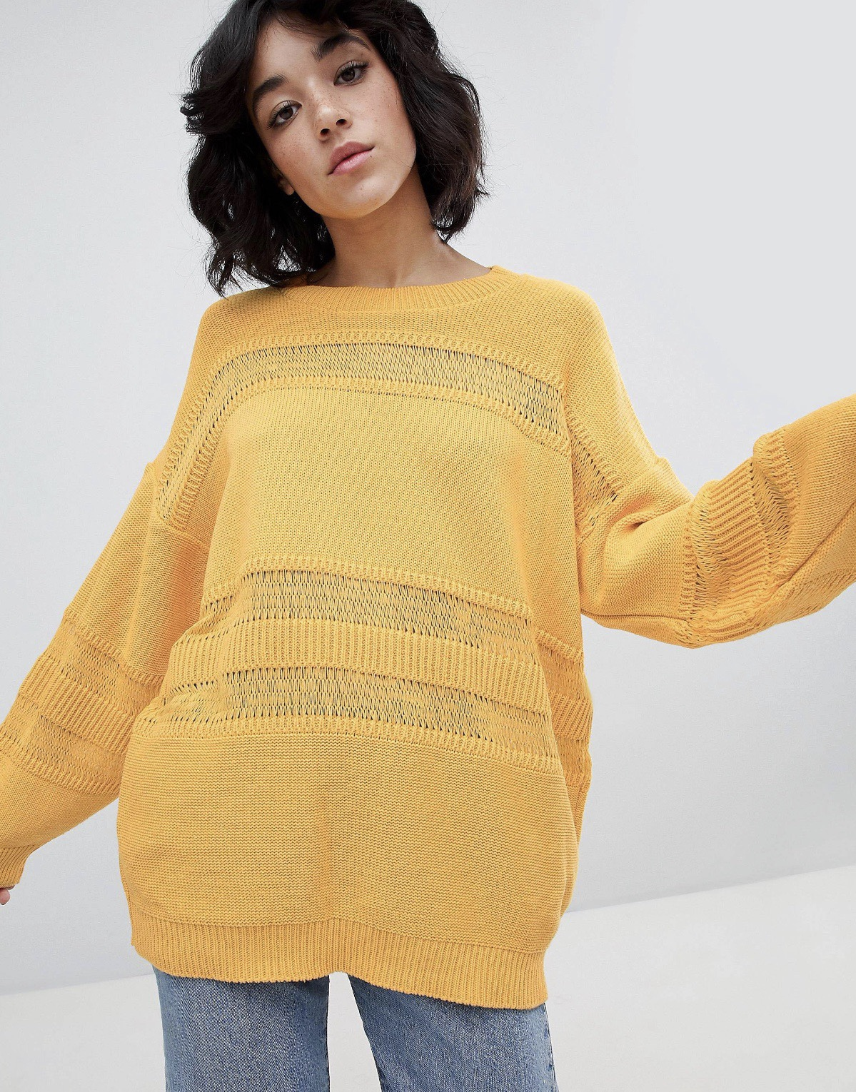 SL1526 Ex Chainstore Yellow Stitch Detail Oversized Jumper x13