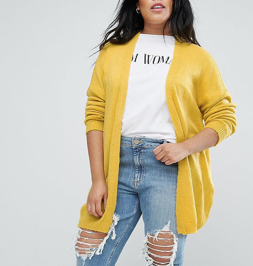 SL1374 Ex Chainstore Curve Yellow Fine Knit Cardigan x15