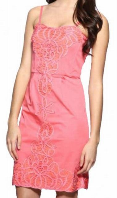 SL047 Ex UK Chainstore Coral Battenburg Insert Panel Dress x10