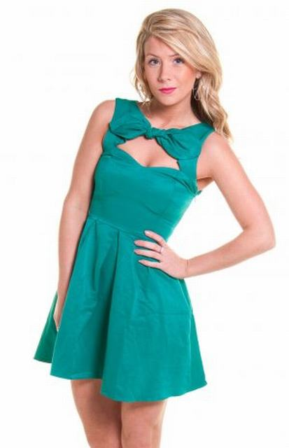 SL049 Ex UK Chainstore Bell Skirt Bow Cut Out Neck Dress x12