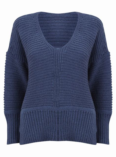 SL872 Ex UK Chainstore Oversized V Neck Fluffy Jumper D Blue x15
