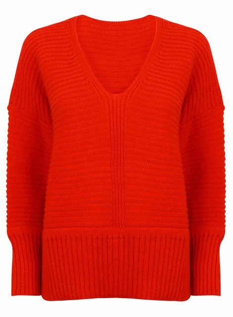 SL863 Ex UK Chainstore V Neck Chunky Jumper - Red x12