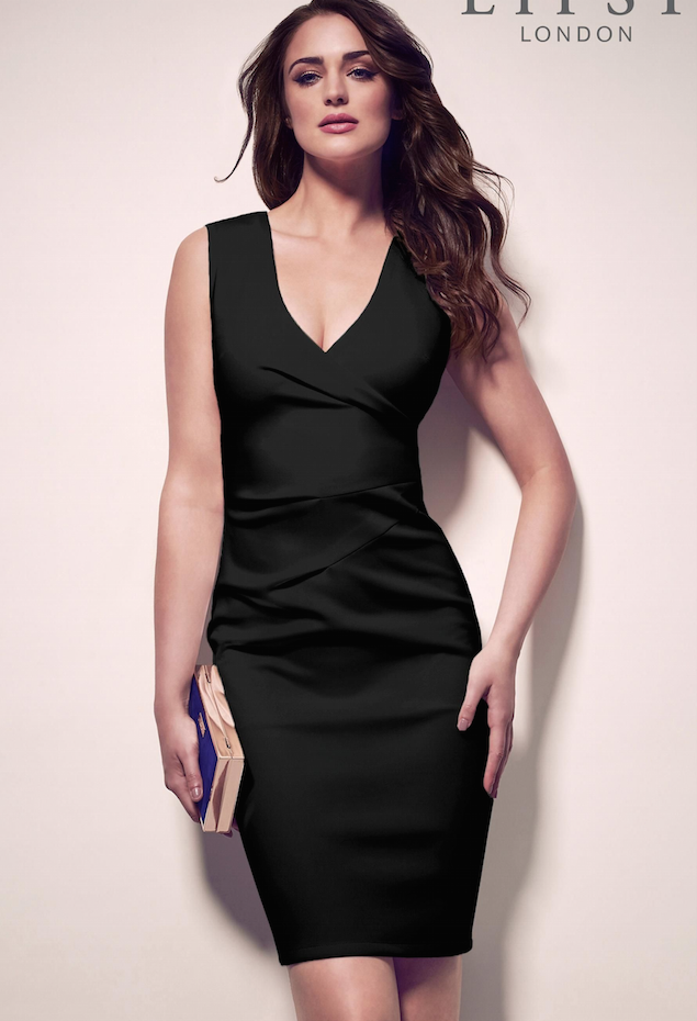 SL1403 Ex Chainstore Black Pleated Bodycon Dress x16