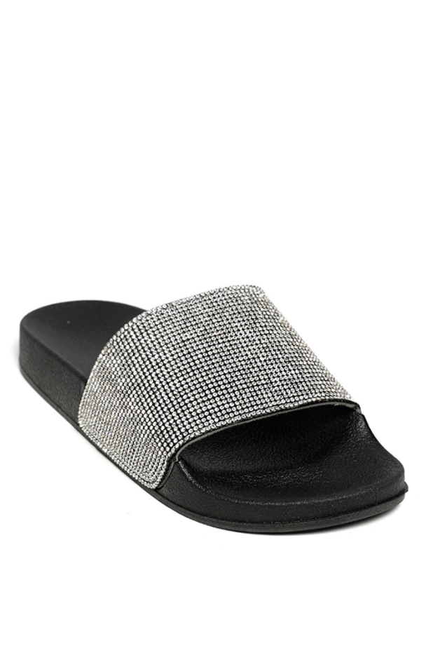 SL1440 Ex Chainstore Diamante Strap Sliders - Black x25