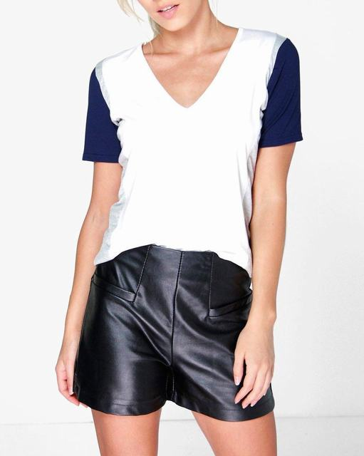 SL878 Ex Chainstore Petite V Neck Colour Block Tee x12