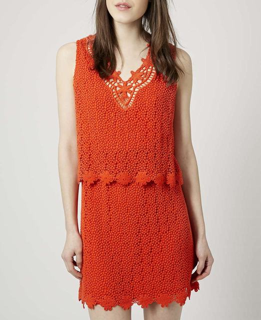 SL751 Ex UK Chainstore Orange Crochet Overlay Dress x12