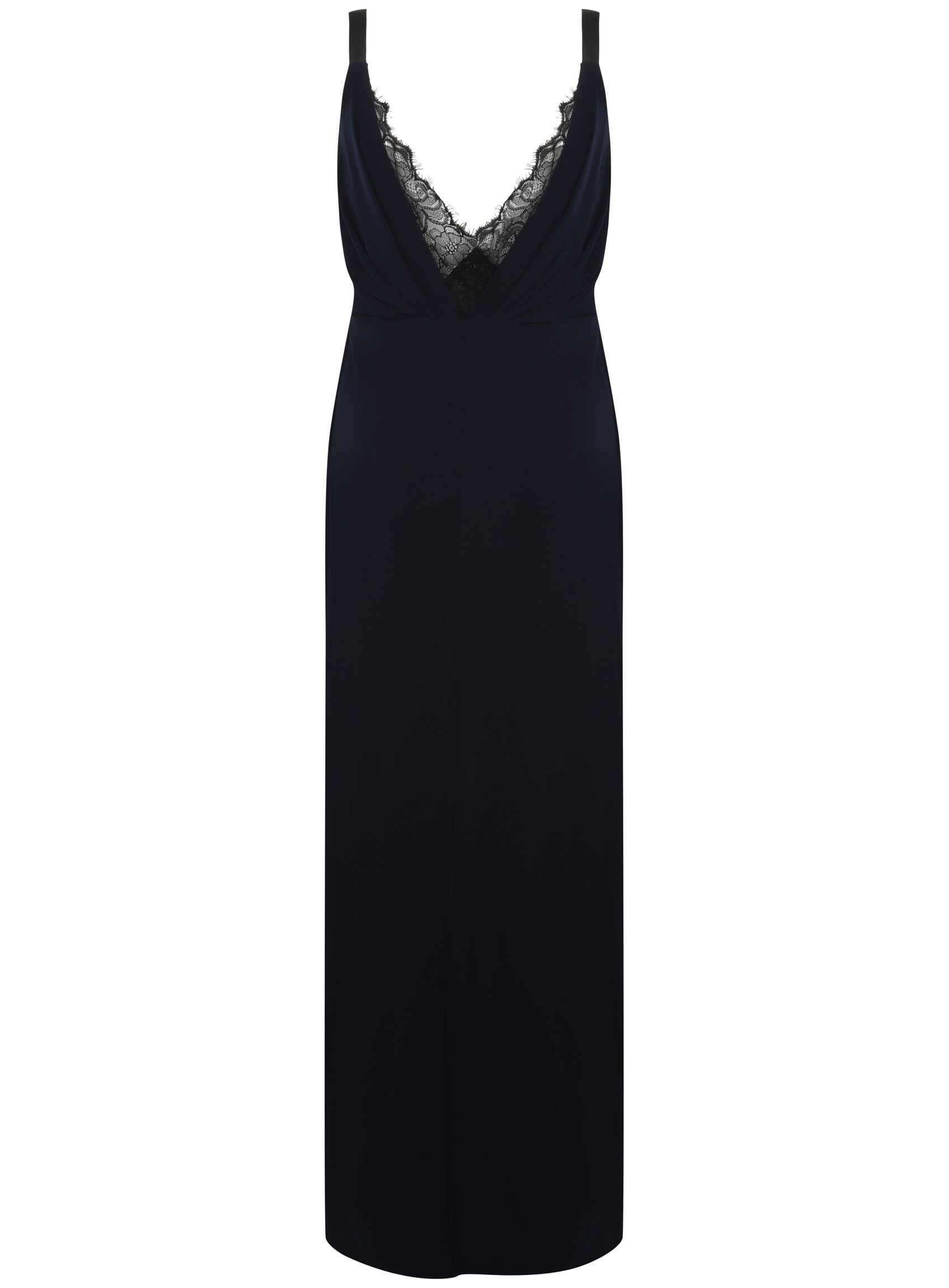 SL1383 Ex UK Chainstore Lace Detail Navy Split Maxi Dress x12