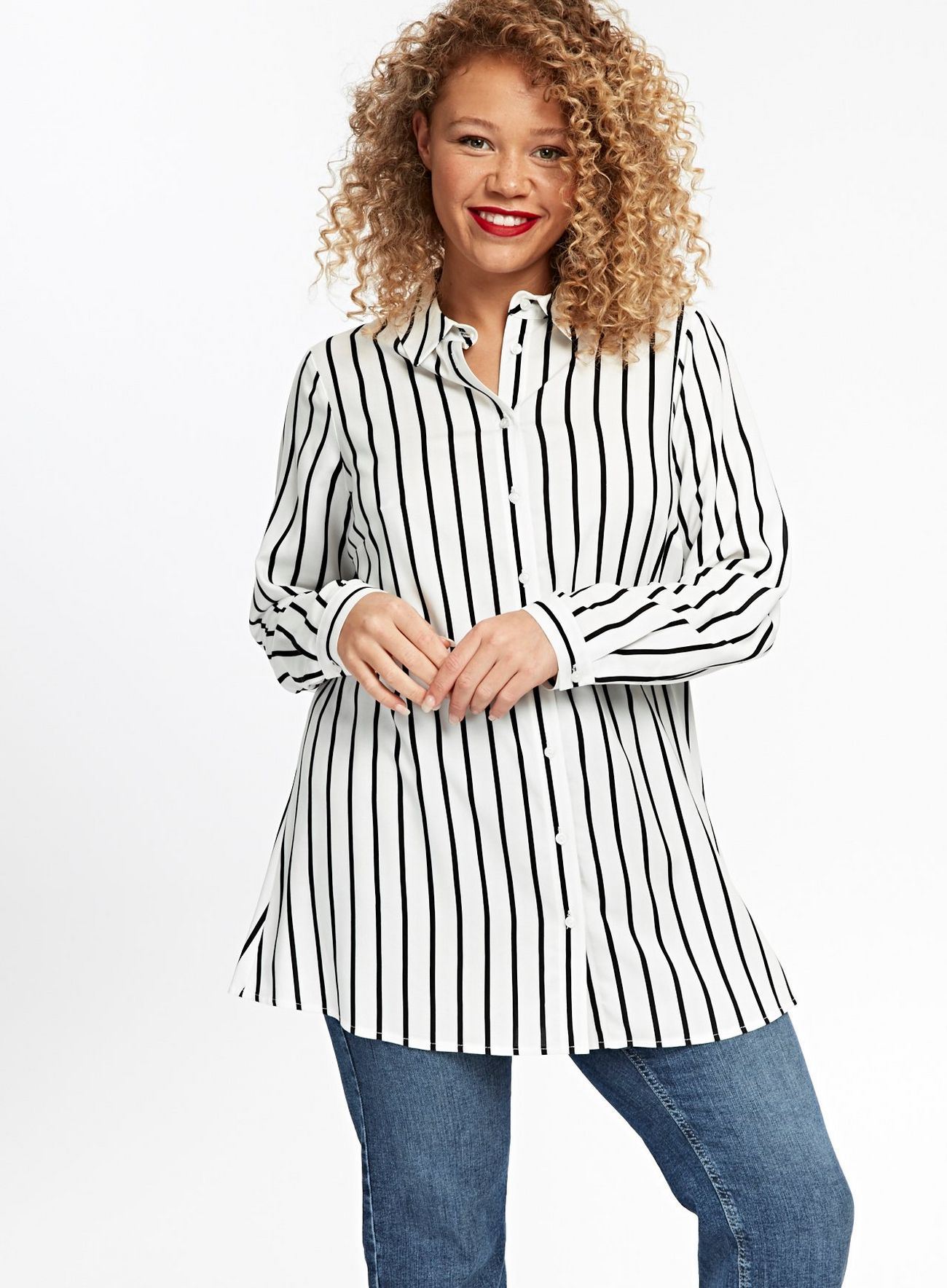 SL1436 Ex Chainstore Black And White Striped Shirt x12