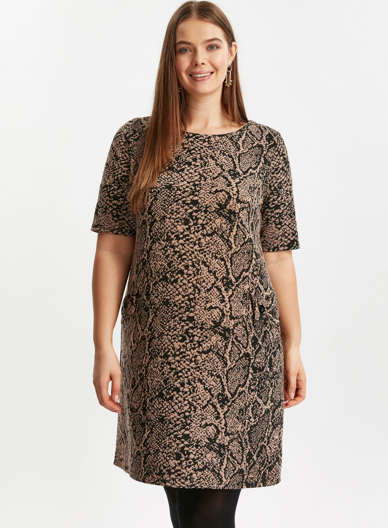SL1423 Ex Chainstore Brown Animal Print Shift Dress x12