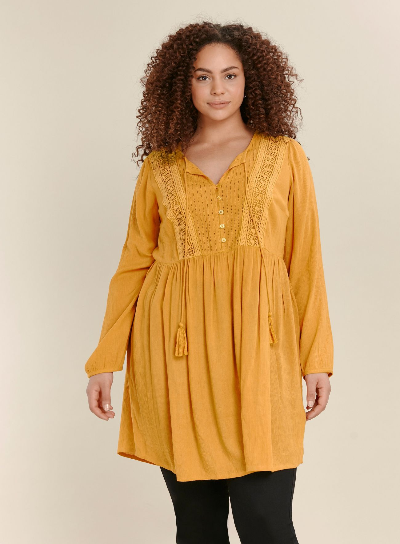 SL1461 Ex Chainstore Ochre Lace Detail Tunic Top x12