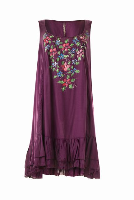 SL638 Ex UK Chainstore Mix Crinkle Tunic Dress - Purple x14