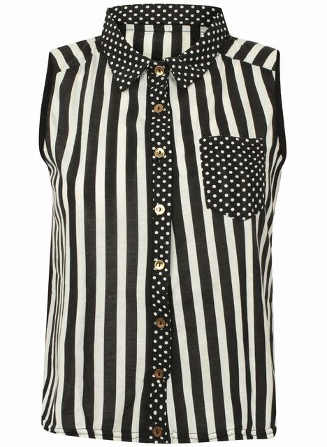 SC117 Ex UK Chainstore Monochrome Striped Shirt x10