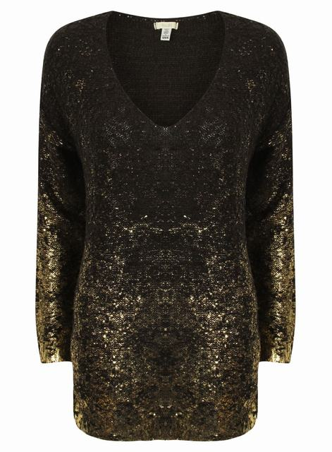 SL840 Ex UK Chainstore Black Gold Foil Splatter Jumper x10