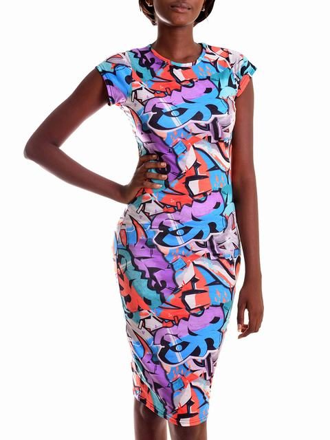 SL765 Ex UK Chainstore Graffiti Print Midi Dress x13