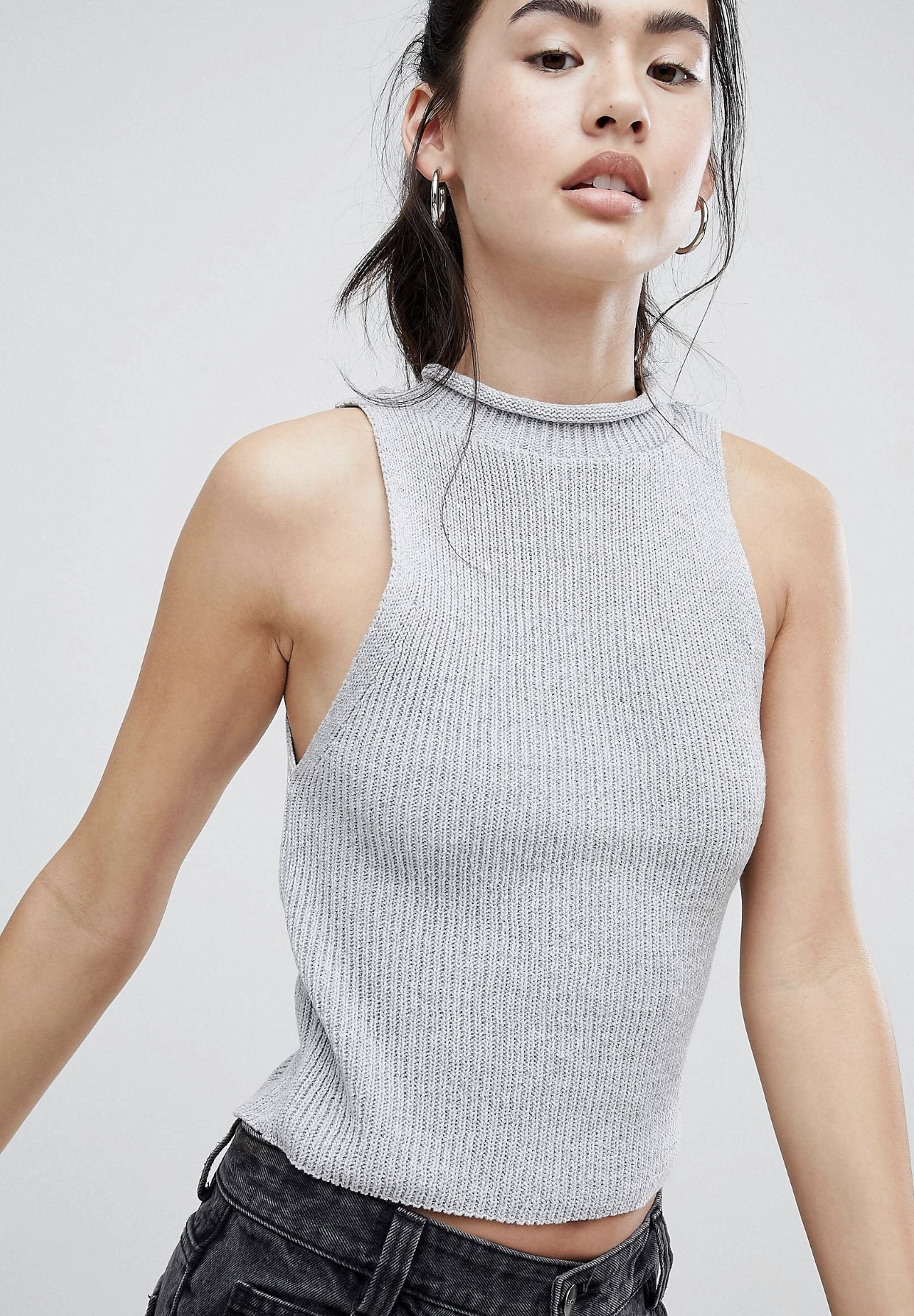 SL1364 Ex Chainstore Grey Knitted Crop Top with Turtle Neck x11