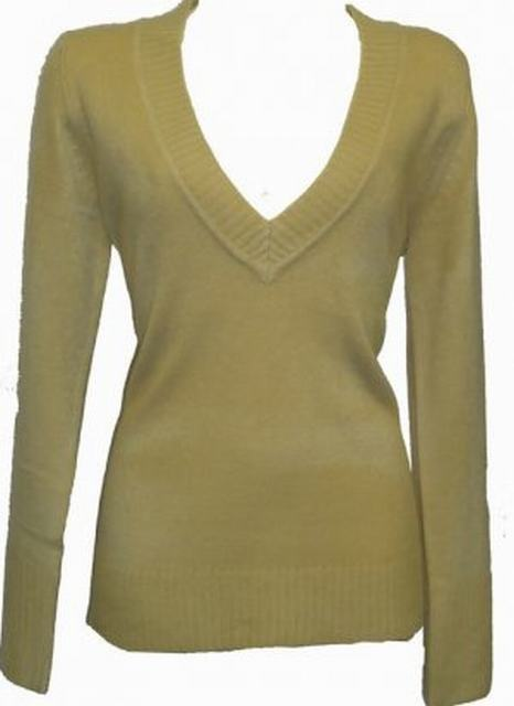 SL013 Ex UK chainstore V neck jumper Sand (x12)