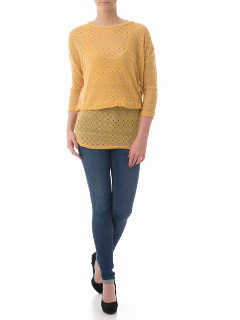 SL279 Ex UK Chainstore Mustard Knitted Crop Jumper x12