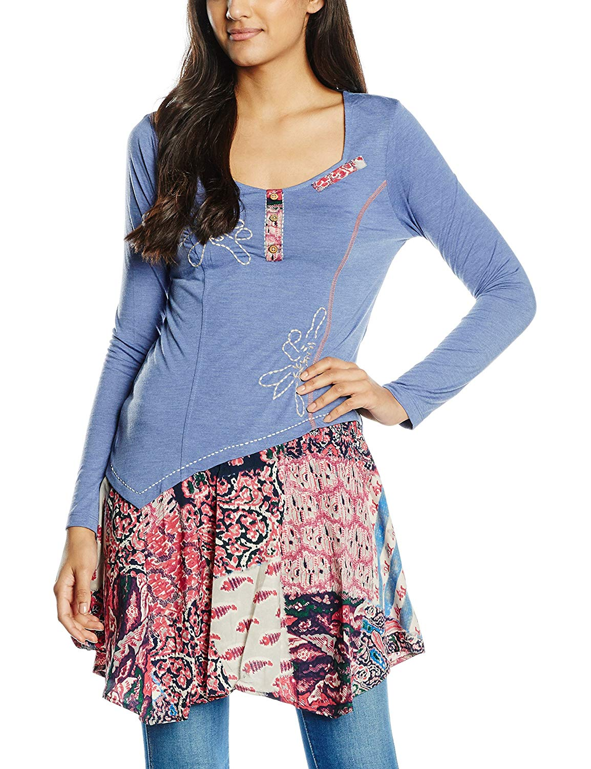 SL1453 Ex Chainstore Mix It Up Blue Printed Tunic x17