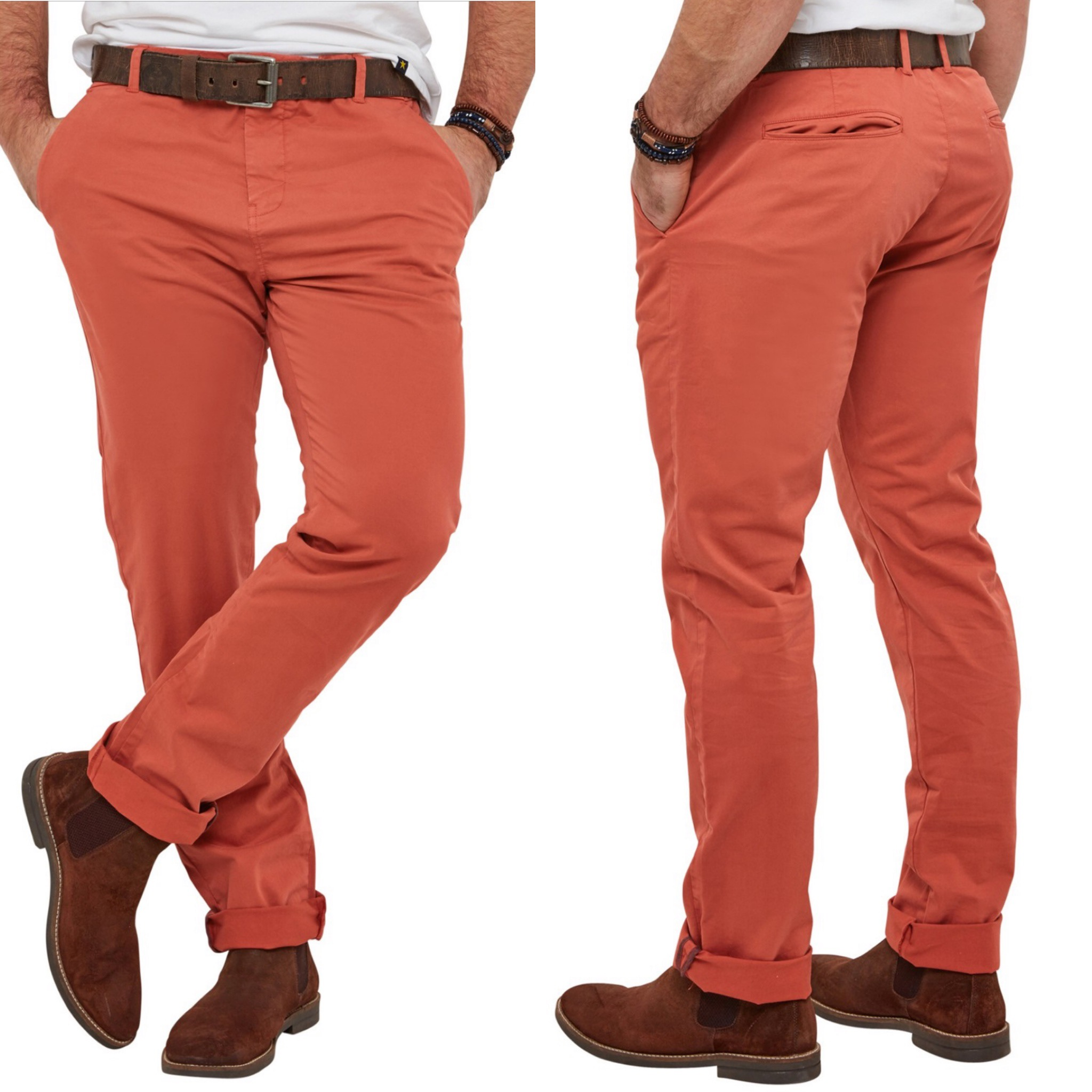 SM069 Ex Chainstore Orange Plain Classic Chinos x16