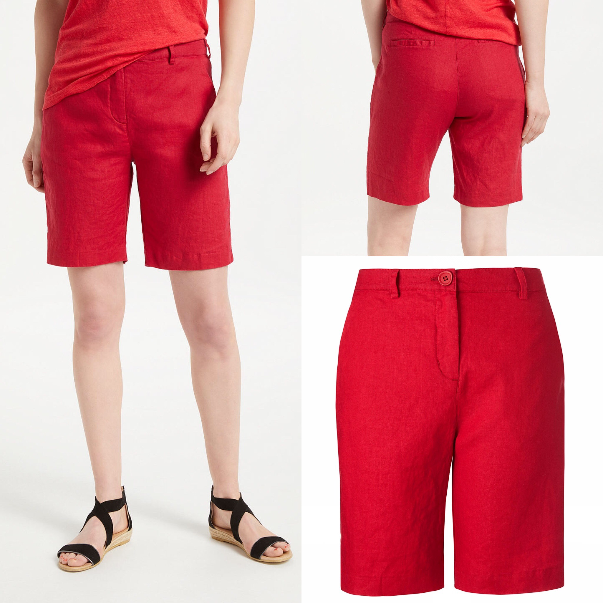 SL1443 Ex Chainstore Red Pure Linen Pocket Shorts x12