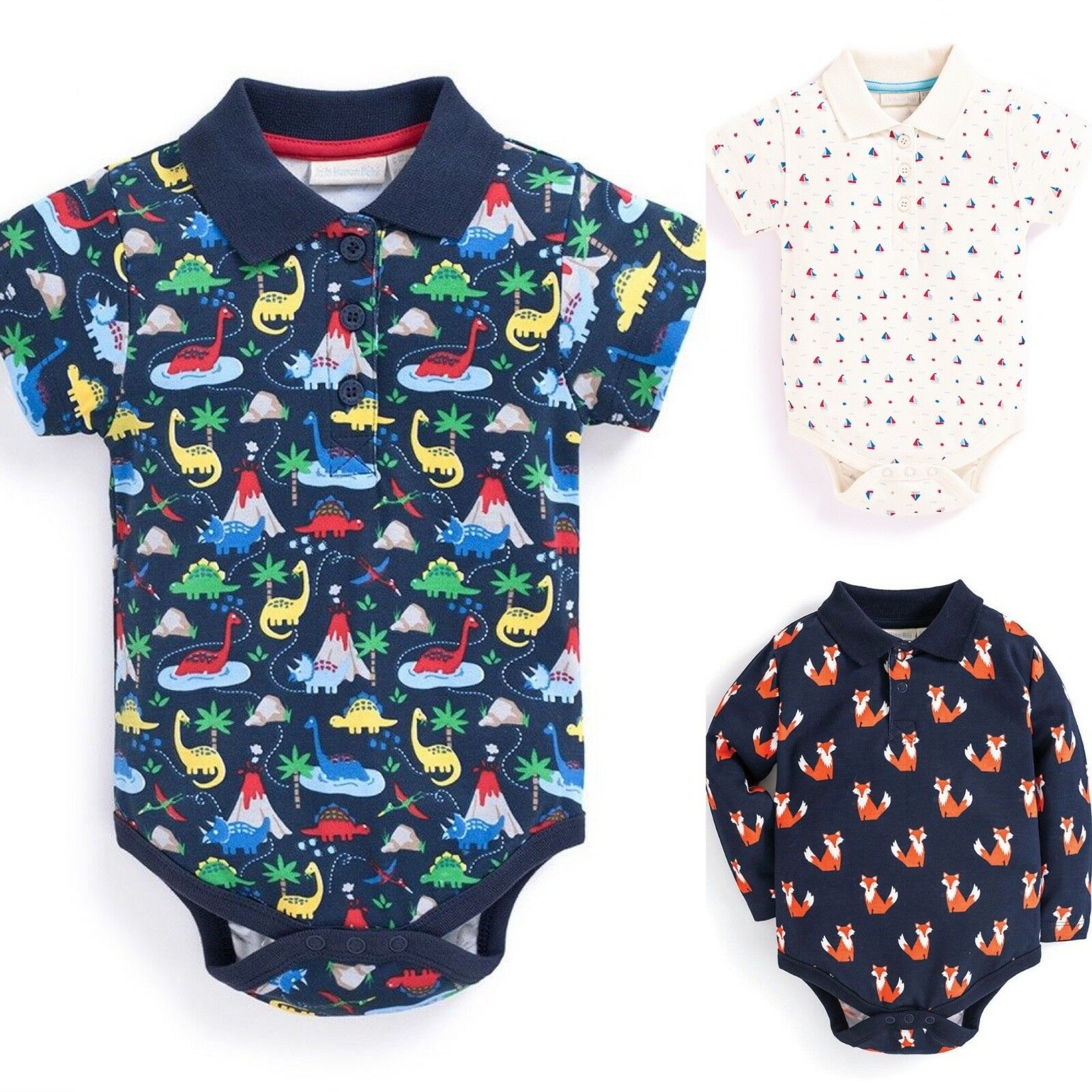 SC262 Ex Chainstore Multi Print Baby Boys Collared Bodysuit x34
