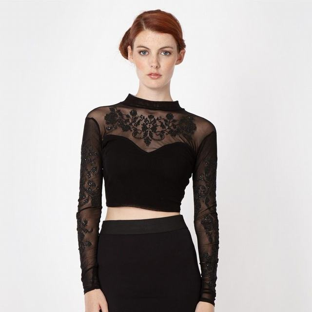 SL1292 Ex Chainstore Bead Embellished Mesh Crop Top x6