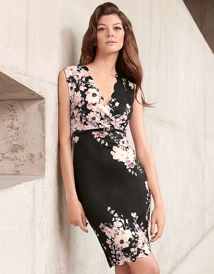 SL1395 Ex Chainstore Floral Scallop Detail 2 In 1 Dress x9