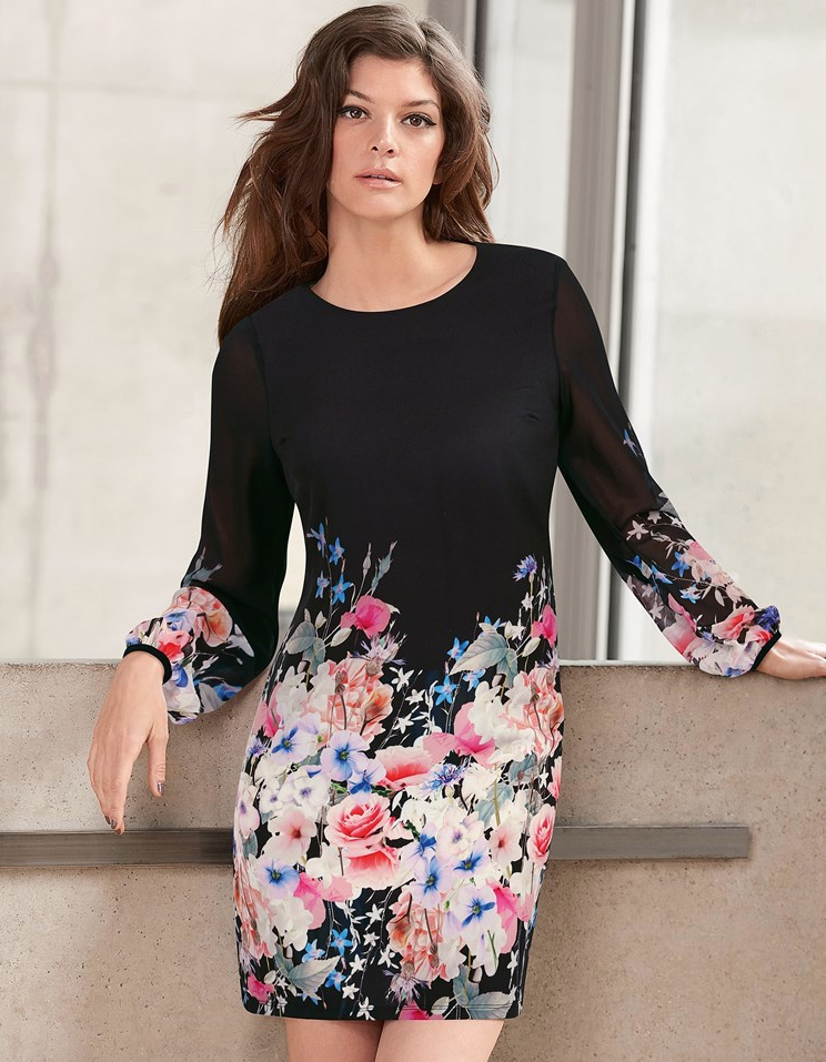 SL1568 Ex Chainstore Long Sleeve Floral Shift Dress x14