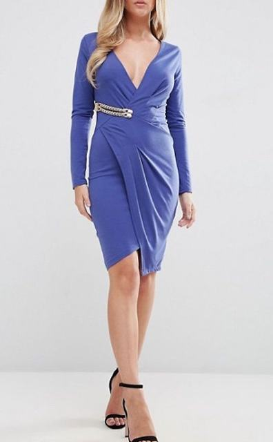 SL839 Ex UK Chainstore Blue Plunge Wrap Buckle Dress x11