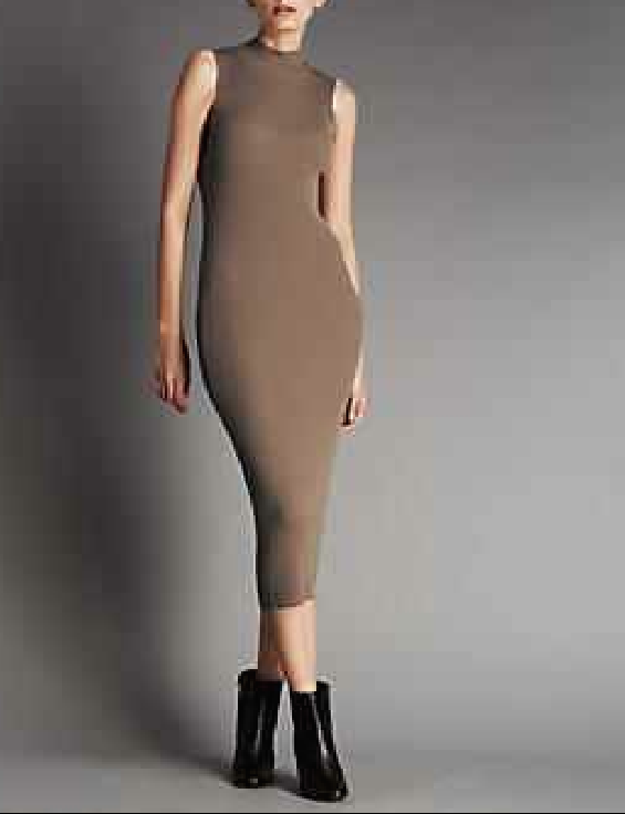 SL756 Ex UK Chainstore Camel Funnel Neck Knitted Midi Dress x12
