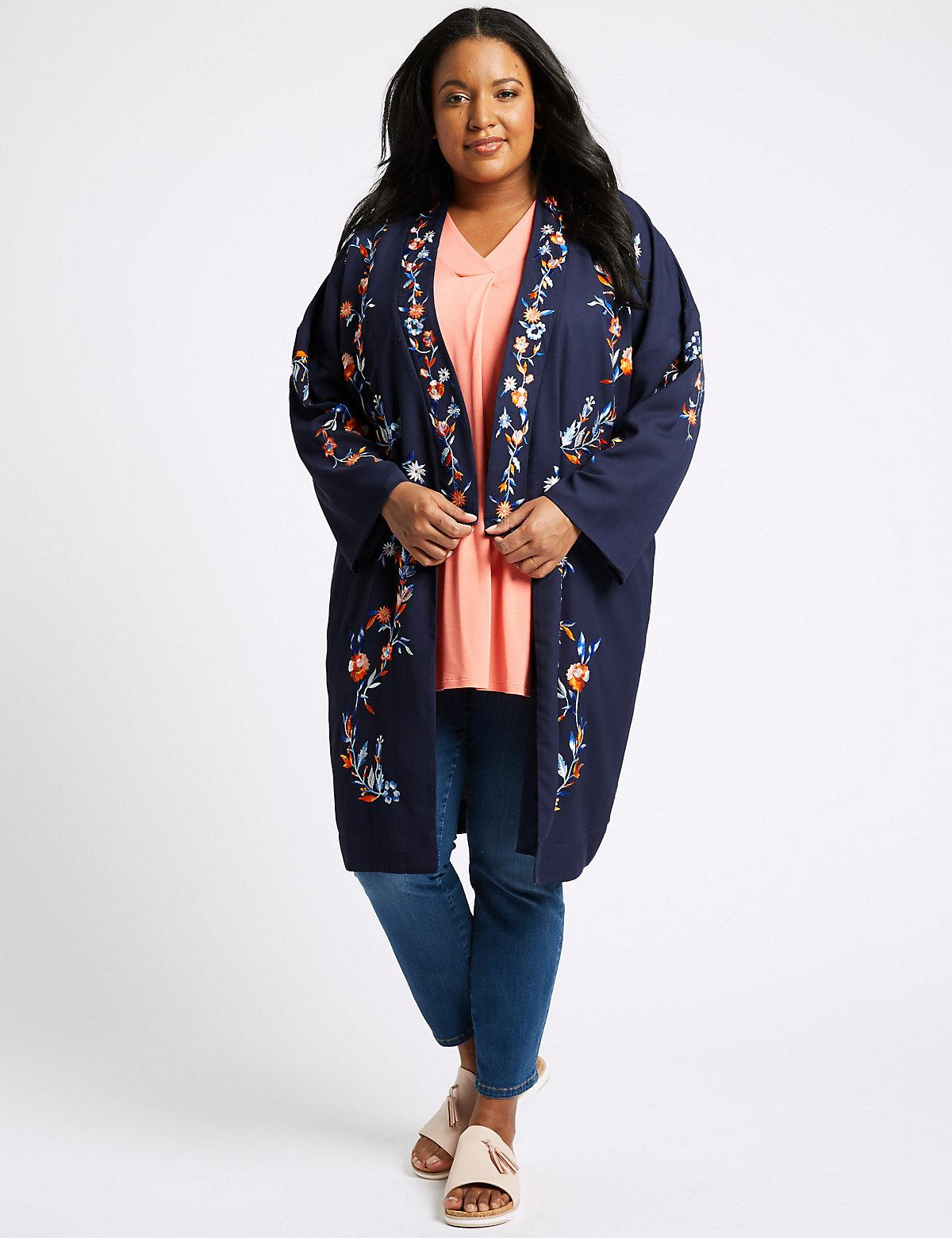 SL1351 Ex Chainstore Curve Long Sleeve Floral Kimono Jacket x10