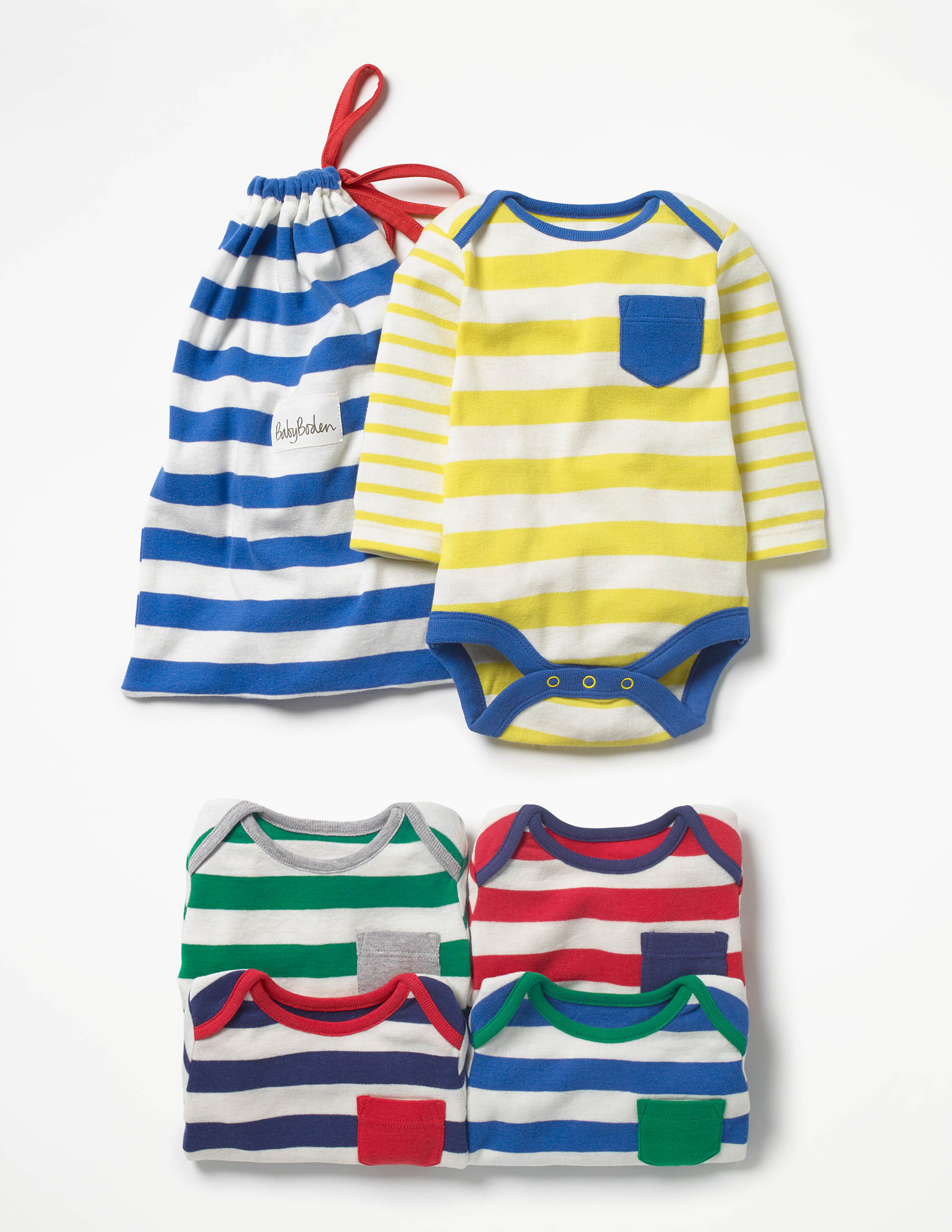 SC240 Ex Chainstore 5-Pack Multi Stripy Pocket Bodysuits x15