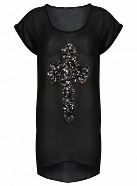 SL225 Ex UK Chainstore Beaded Cross Drop Back Tee x7