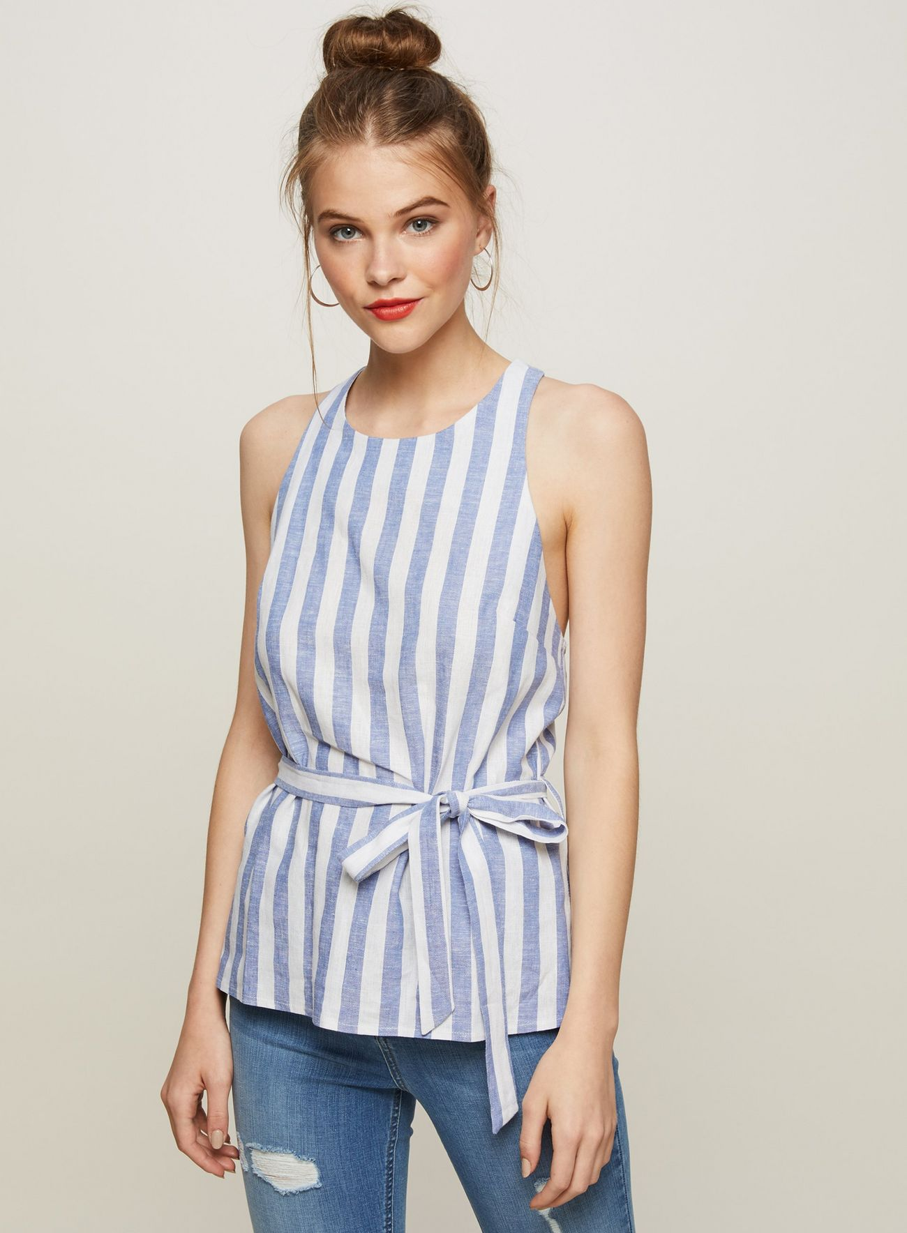 SL1416 Ex Chainstore Linen Striped Blouse x12