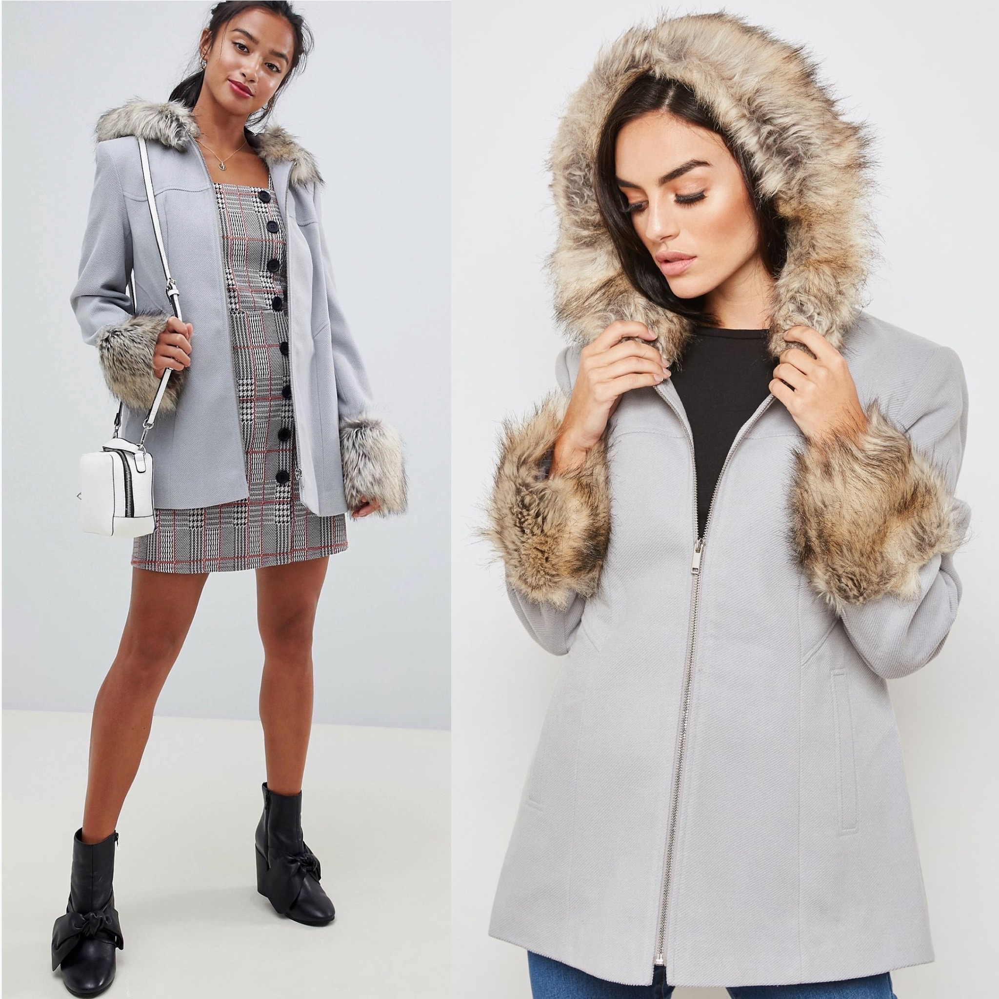 SL1674 Ex Chainstore Grey Faux Fur Trim Hooded Duffle Coat x12