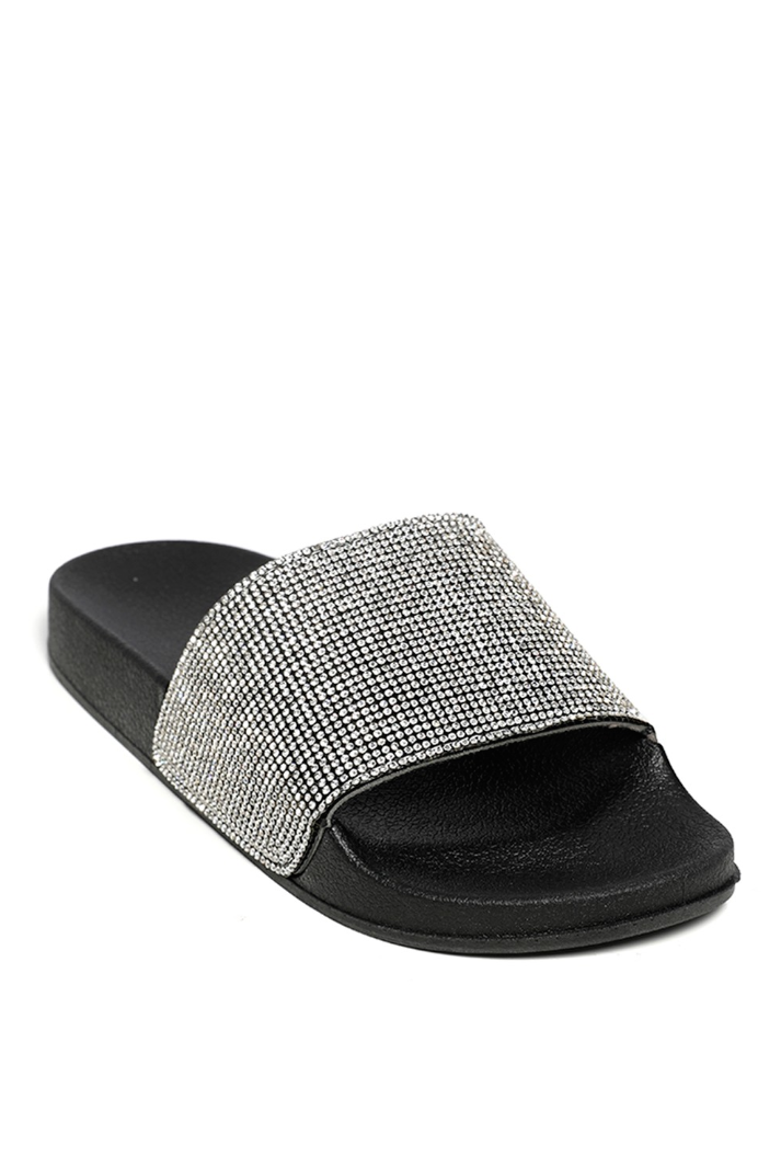 SL1309 Ex Chainstore Diamante Strap Sliders - Black x25