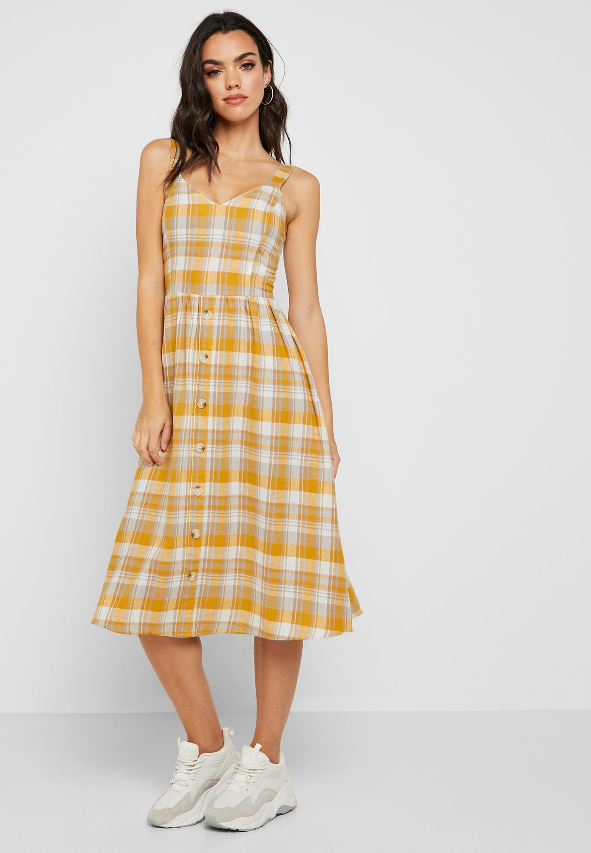SL1429 Ex Chainstore Check Button Down Midi Dress x7